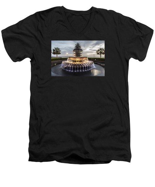 Pineapple Fountain Charleston Sc Men's V-Neck T-Shirt by John McGraw