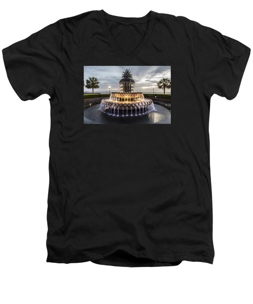 Pineapple Fountain Charleston Sc Men's V-Neck T-Shirt
