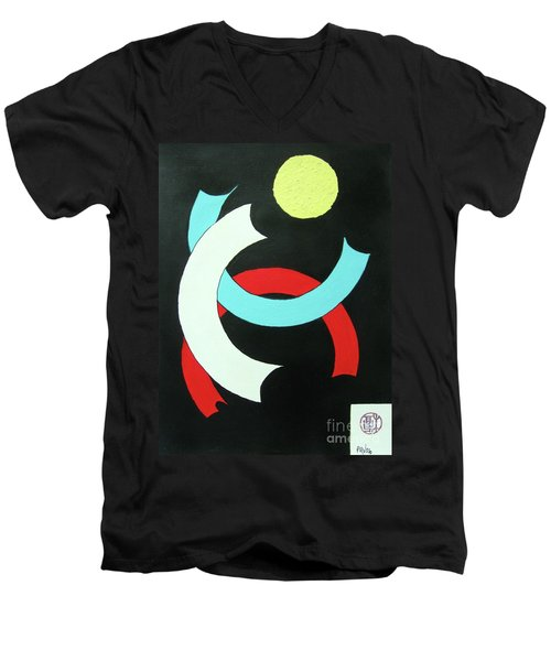 Men's V-Neck T-Shirt featuring the painting Pineapple Moon by Roberto Prusso