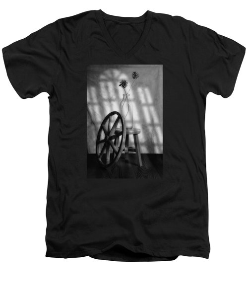 Men's V-Neck T-Shirt featuring the photograph Pinecones In The Window by Tom Mc Nemar