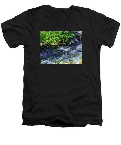 Men's V-Neck T-Shirt featuring the photograph Pinecones Sage And Slow Moving Water by Nancy Marie Ricketts