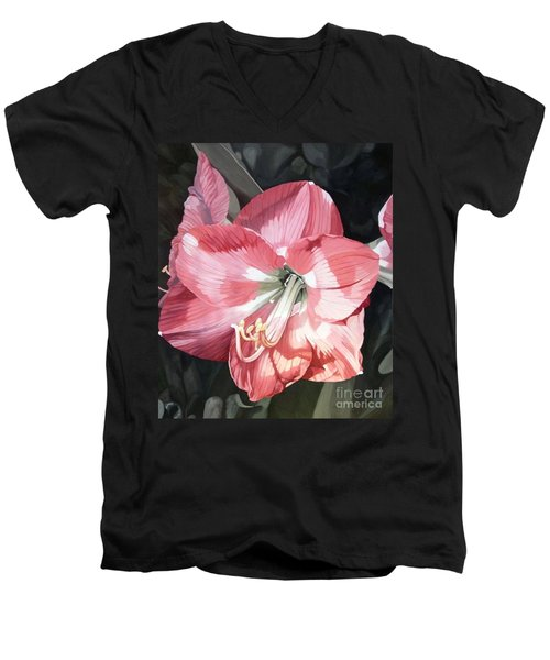 Pink Amaryllis Men's V-Neck T-Shirt