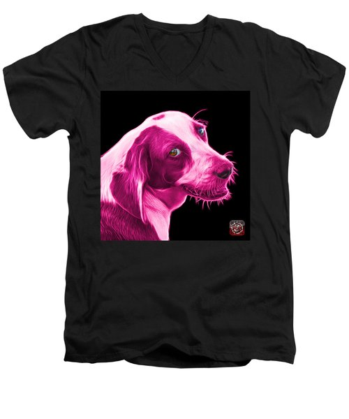 Pink Beagle Dog Art- 6896 - Bb Men's V-Neck T-Shirt