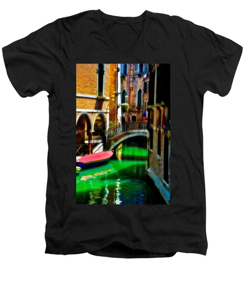 Pink Boat And Canal Men's V-Neck T-Shirt by Harry Spitz