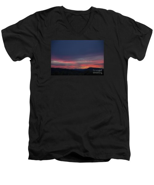 Men's V-Neck T-Shirt featuring the photograph Pink Clouds by Alana Ranney
