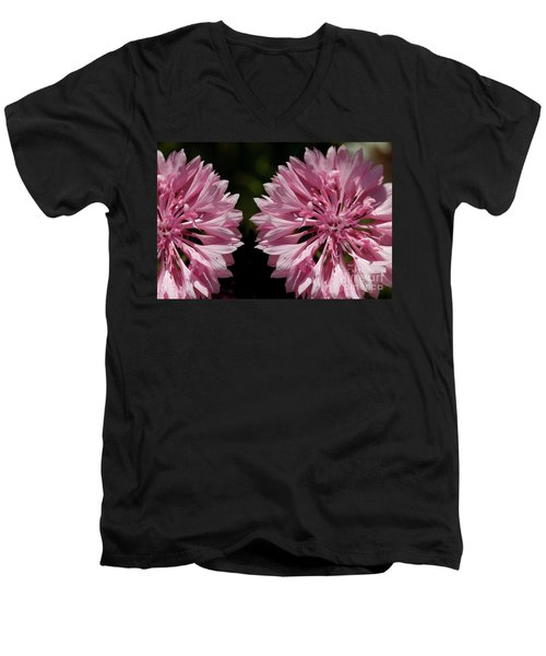 Pink Cornflowers Men's V-Neck T-Shirt