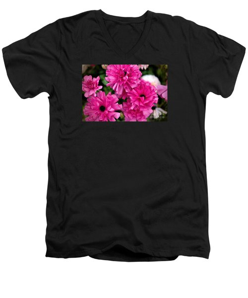 Men's V-Neck T-Shirt featuring the photograph Pink by Diana Mary Sharpton