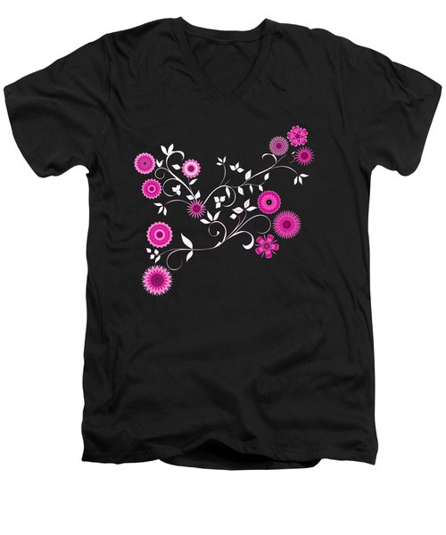 Pink Floral Explosion Men's V-Neck T-Shirt by Methune Hively