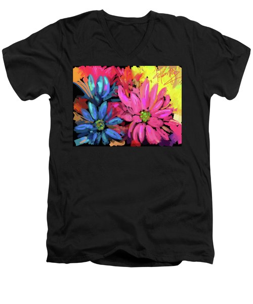 Men's V-Neck T-Shirt featuring the painting Pink Flower by DC Langer