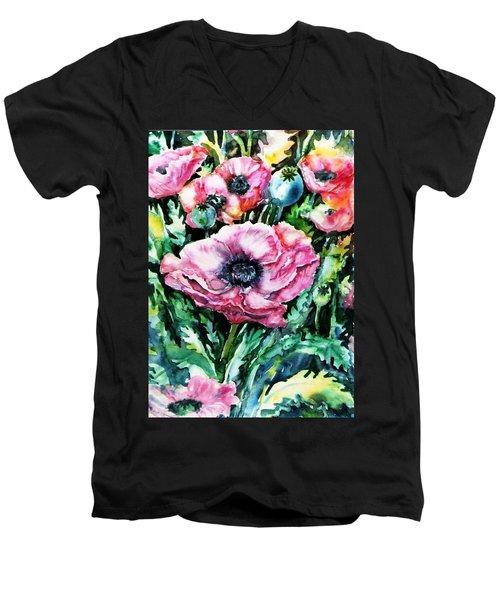 Pink Garden Poppies  Men's V-Neck T-Shirt by Trudi Doyle