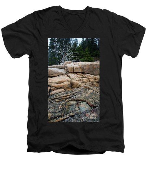 Pink Granite And Driftwood At Schoodic Peninsula In Maine  -4672 Men's V-Neck T-Shirt