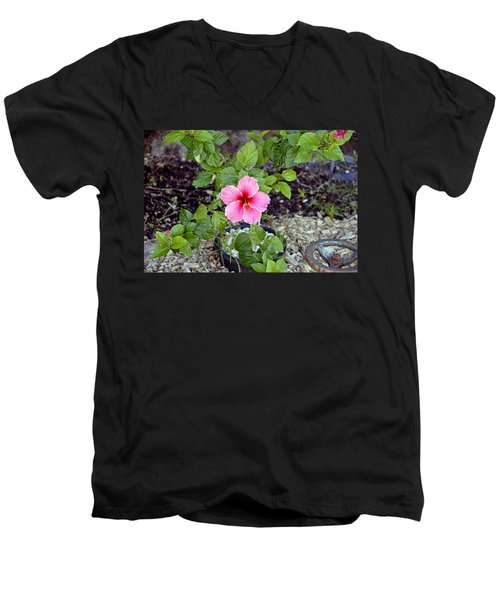 Pink Hibiscus And Wheel Men's V-Neck T-Shirt