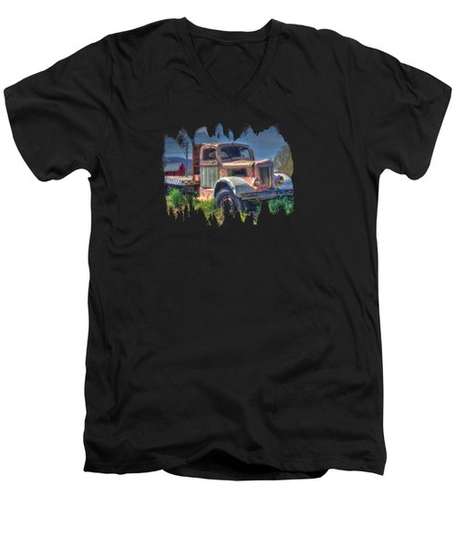 Classic Flatbed Truck In Pink Men's V-Neck T-Shirt