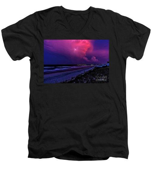 Pink Lightning Men's V-Neck T-Shirt