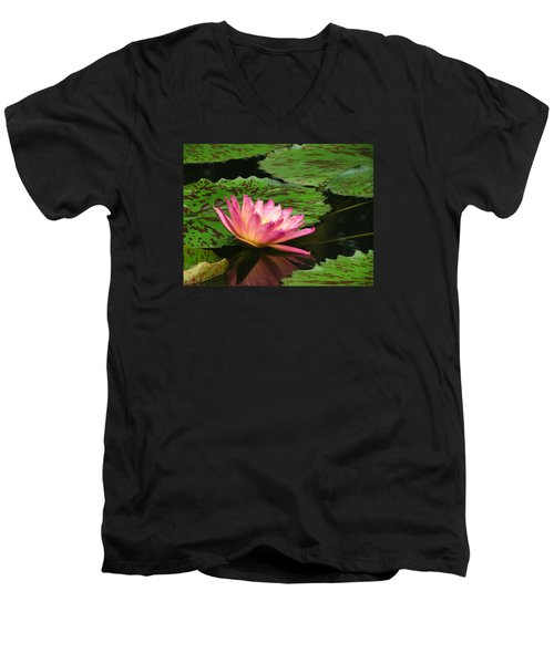 Pink Lily Reflection Men's V-Neck T-Shirt