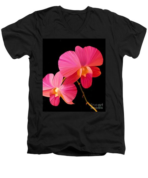 Men's V-Neck T-Shirt featuring the painting Pink Lux by Rand Herron