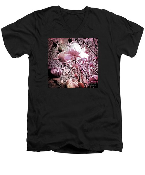 Pink Magnolias Men's V-Neck T-Shirt by Karen Lewis