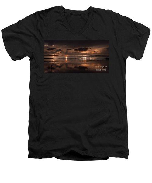Amber Nights Men's V-Neck T-Shirt by Quinn Sedam