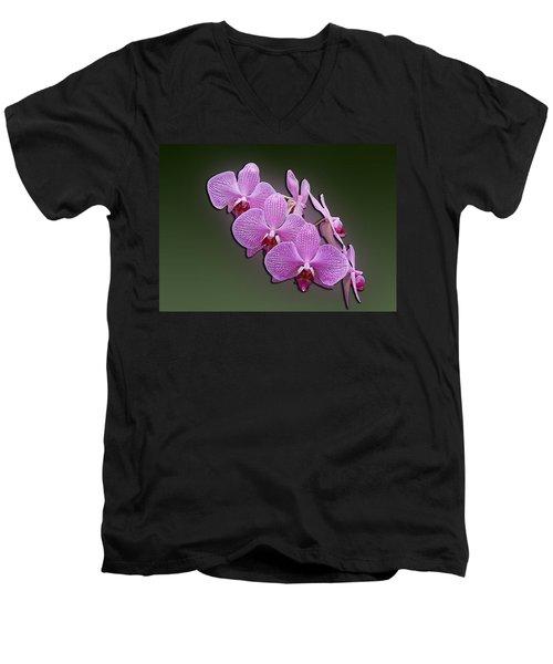 Men's V-Neck T-Shirt featuring the photograph Pink Orchids by John Haldane