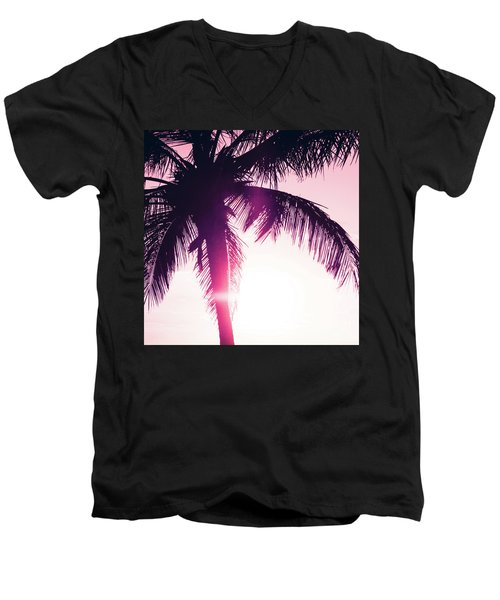 Men's V-Neck T-Shirt featuring the photograph Pink Palm Tree Silhouettes Kihei Tropical Nights by Sharon Mau