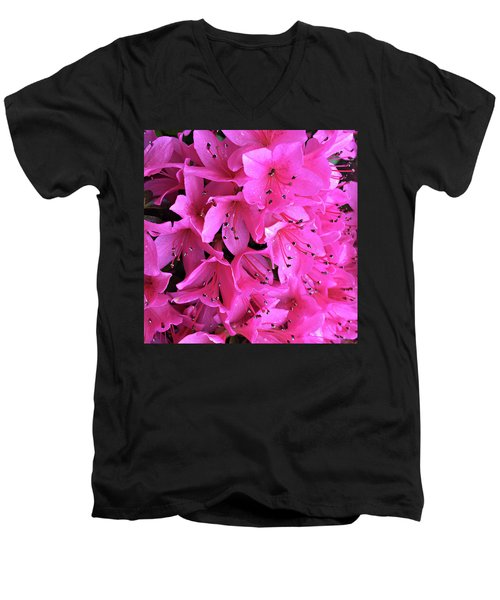 Men's V-Neck T-Shirt featuring the photograph Pink Passion In The Rain by Sherry Hallemeier