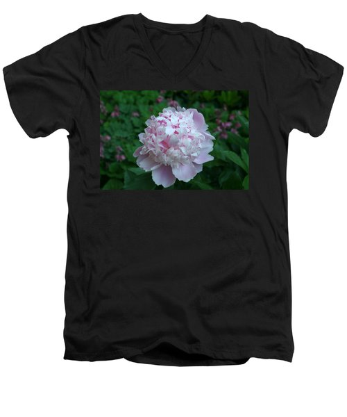 Men's V-Neck T-Shirt featuring the digital art Pink Peony by Barbara S Nickerson
