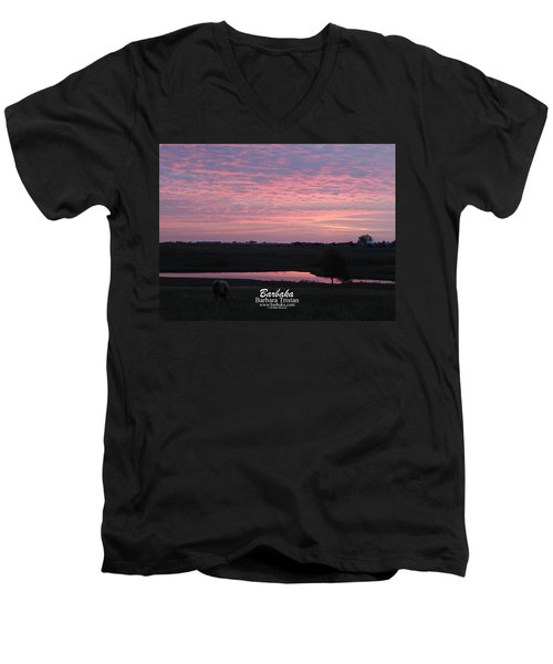 Pink Pond And Cow #5110 Men's V-Neck T-Shirt