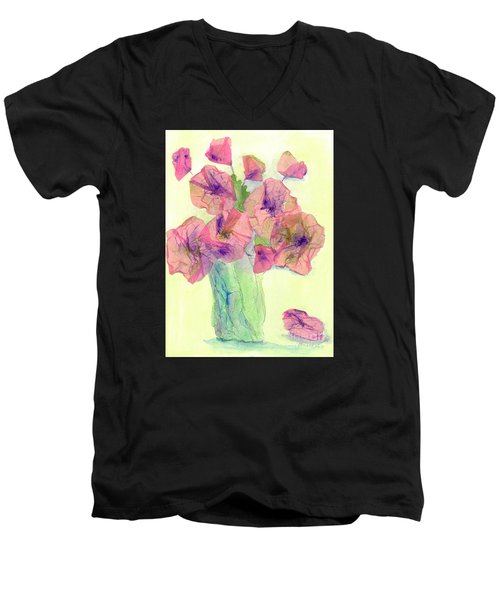 Pink Poppies Men's V-Neck T-Shirt by Veronica Rickard