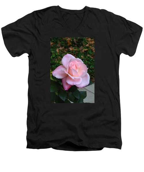 Men's V-Neck T-Shirt featuring the photograph Pink Rose by Carla Parris