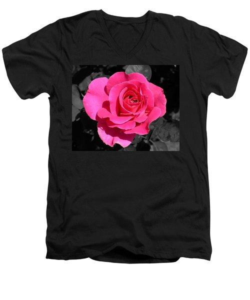 Perfect Pink Rose Men's V-Neck T-Shirt by Michael Bessler