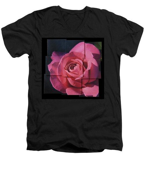 Pink Rose Photo Sculpture Men's V-Neck T-Shirt by Michael Bessler