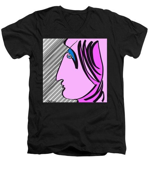Pink Scarf Men's V-Neck T-Shirt