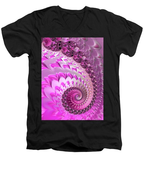 Pink Spiral With Lovely Hearts Men's V-Neck T-Shirt