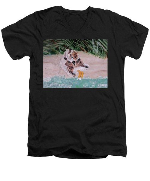 Piping Plover Chick 2 Men's V-Neck T-Shirt