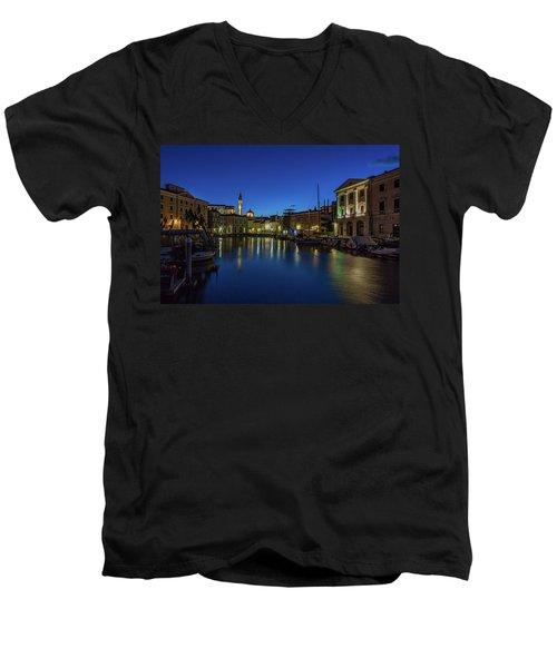 Men's V-Neck T-Shirt featuring the photograph Piran Marina Dawn - Slovenia by Stuart Litoff