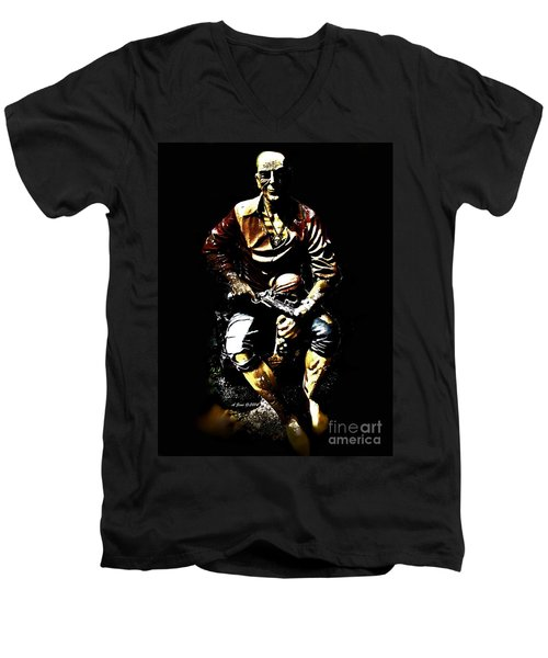 Men's V-Neck T-Shirt featuring the photograph Pirate And Skull by Annie Zeno