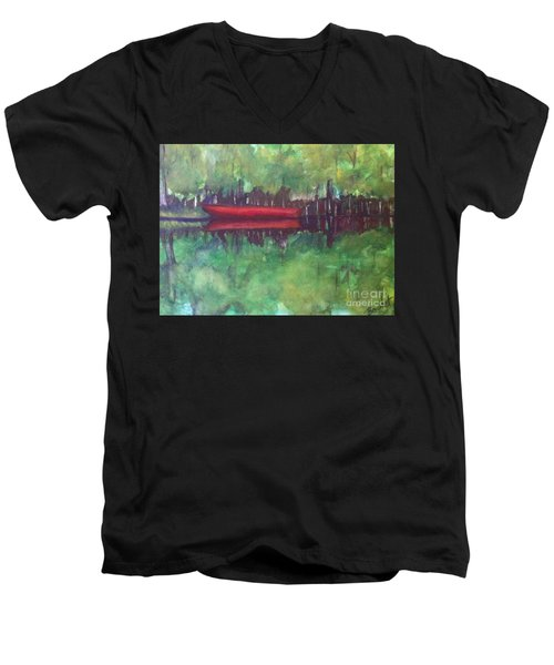 Pirogue On Bayou Lafourche Men's V-Neck T-Shirt