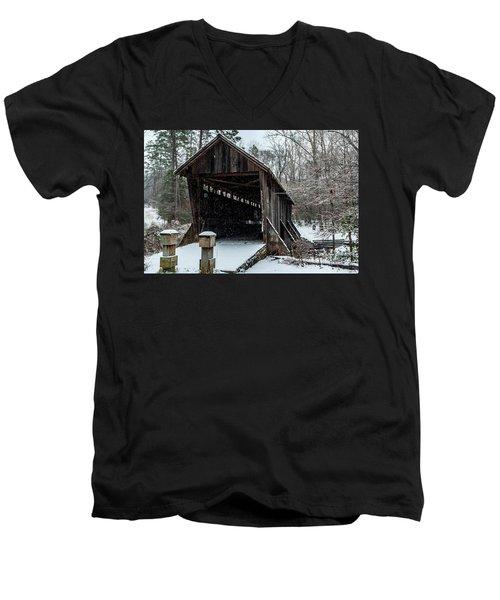Pisgah Covered Bridge - Modern Men's V-Neck T-Shirt