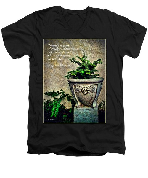 Pissarro Inspirational Quote Men's V-Neck T-Shirt by Joan  Minchak