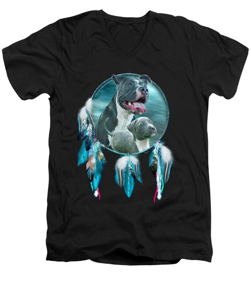 Pit Bulls - Rez Dog Men's V-Neck T-Shirt by Carol Cavalaris
