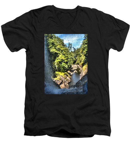 Pitcher Falls And Cullasaja Gorge Men's V-Neck T-Shirt by James Potts