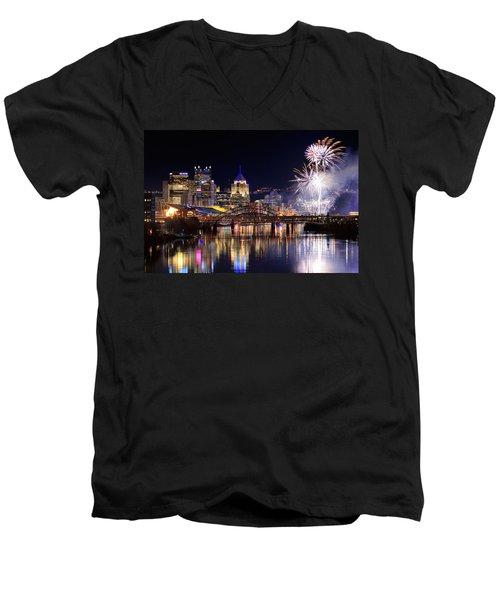 Pittsburgh 1  Men's V-Neck T-Shirt by Emmanuel Panagiotakis