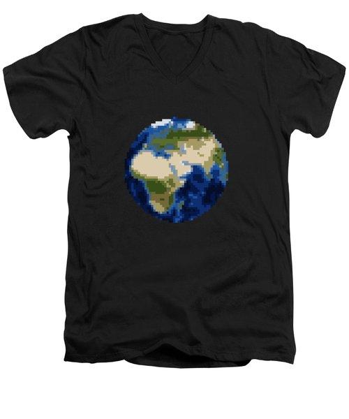 Pixel Earth Design Men's V-Neck T-Shirt by Martin Capek