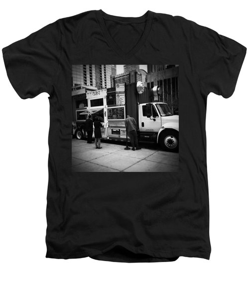 Pizza Oven Truck - Chicago - Monochrome Men's V-Neck T-Shirt by Frank J Casella