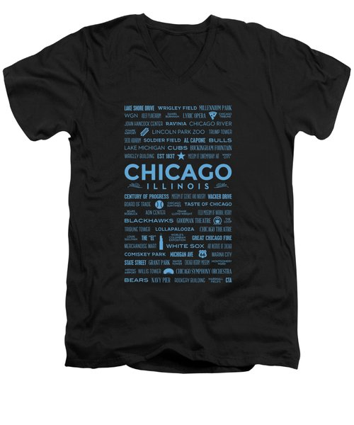 Men's V-Neck T-Shirt featuring the digital art Places Of Chicago Blue On Black by Christopher Arndt