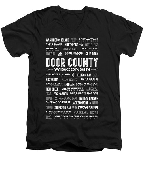 Places Of Door County On Black Men's V-Neck T-Shirt