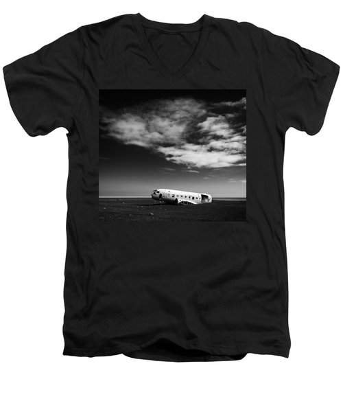 Men's V-Neck T-Shirt featuring the photograph Plane Wreck Black And White Iceland by Matthias Hauser