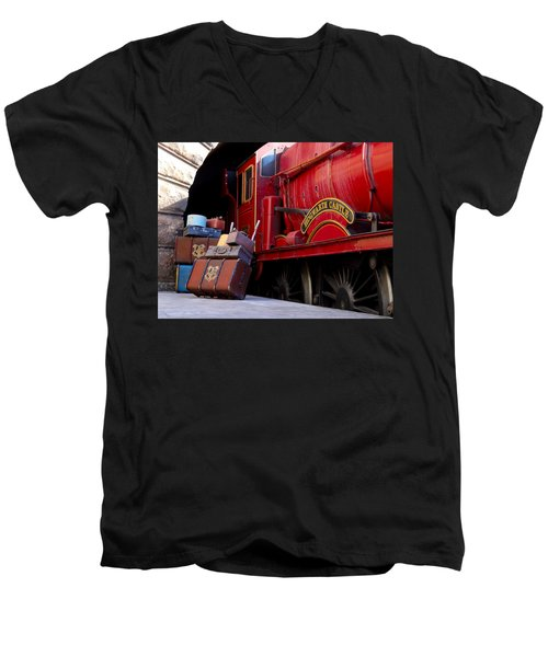 Men's V-Neck T-Shirt featuring the photograph Platform Nine And Three Quarters by Julia Wilcox