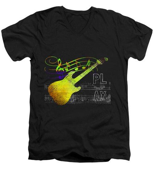 Men's V-Neck T-Shirt featuring the digital art Play 2 by Guitar Wacky
