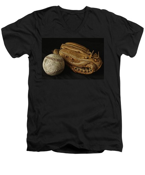 Play Ball Men's V-Neck T-Shirt by Richard Rizzo